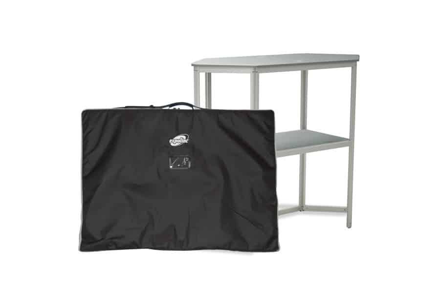 Expolinc Stand Up - Das Stand Up-Paket enthält: Thekenrahmen, Thekenplatte, Zwischenboden und gepolsterte Transporttasche aus Nylon mit Schulterriemen.