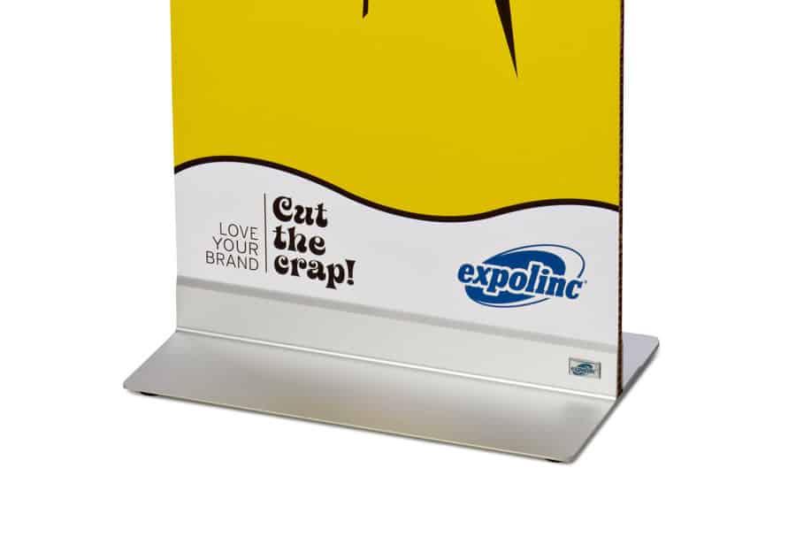 Expolinc Panel Base - Kein Bohren erforderlich. Die Grafik wird durch das Einspannelement gesichert.