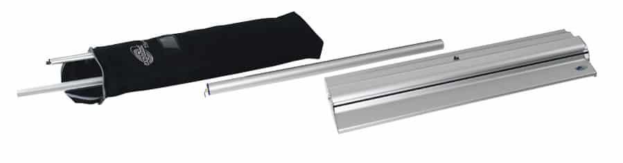 Expolinc Roll Up Classic - Im Lieferumfang enthalten sind: Gehäuse, Panelstange, Panelprofil mit Aluleiste, Federkern mit Kunststoffleiste sowie die Nylontasche.